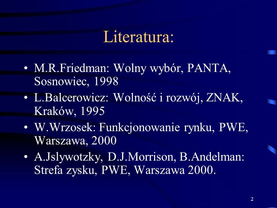 2 Literatura: M.R.Friedman: Wolny wybór, PANTA, Sosnowiec, 1998 L.Balcerowicz: Wolność i rozwój, ZNAK, Kraków, 1995 W.Wrzosek: Funkcjonowanie rynku, P