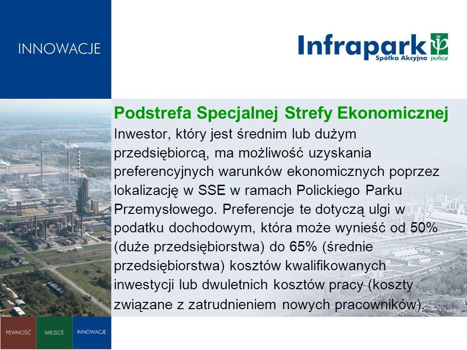 Podstrefa Specjalnej Strefy Ekonomicznej Inwestor, który jest średnim lub dużym przedsiębiorcą, ma możliwość uzyskania preferencyjnych warunków ekonom