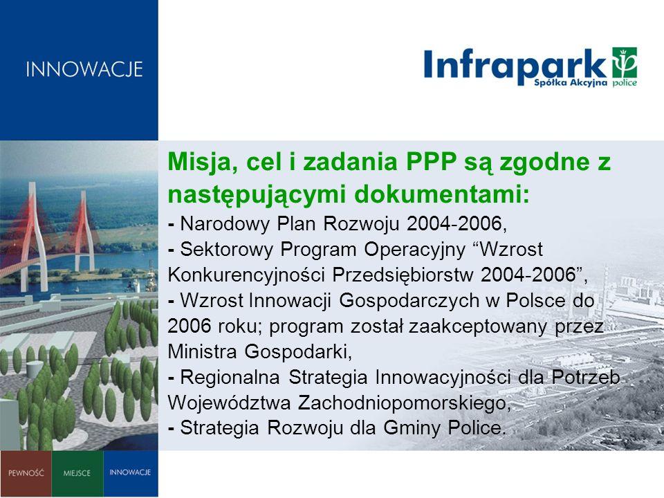 Misja, cel i zadania PPP są zgodne z następującymi dokumentami: - Narodowy Plan Rozwoju 2004-2006, - Sektorowy Program Operacyjny Wzrost Konkurencyjno