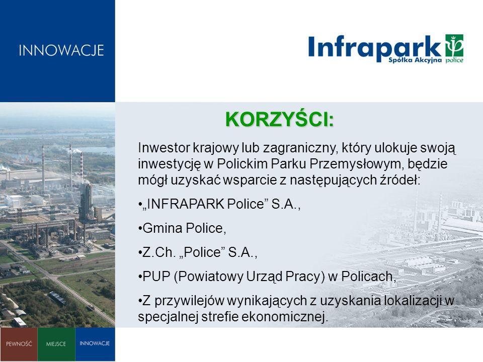 KORZYŚCI: Inwestor krajowy lub zagraniczny, który ulokuje swoją inwestycję w Polickim Parku Przemysłowym, będzie mógł uzyskać wsparcie z następujących