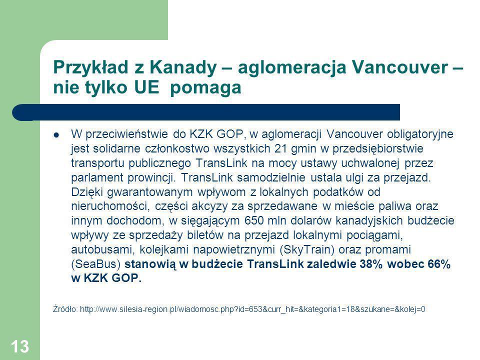 13 Przykład z Kanady – aglomeracja Vancouver – nie tylko UE pomaga W przeciwieństwie do KZK GOP, w aglomeracji Vancouver obligatoryjne jest solidarne
