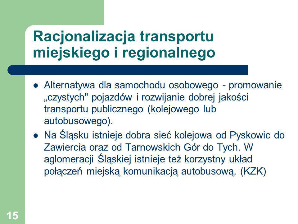 15 Racjonalizacja transportu miejskiego i regionalnego Alternatywa dla samochodu osobowego - promowanie czystych