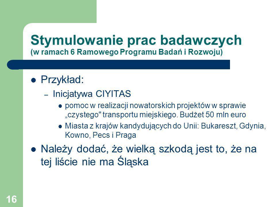 16 Stymulowanie prac badawczych (w ramach 6 Ramowego Programu Badań i Rozwoju) Przykład: – Inicjatywa CIYITAS pomoc w realizacji nowatorskich projektó