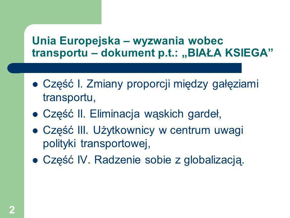 2 Unia Europejska – wyzwania wobec transportu – dokument p.t.: BIAŁA KSIEGA Część I. Zmiany proporcji między gałęziami transportu, Część II. Eliminacj