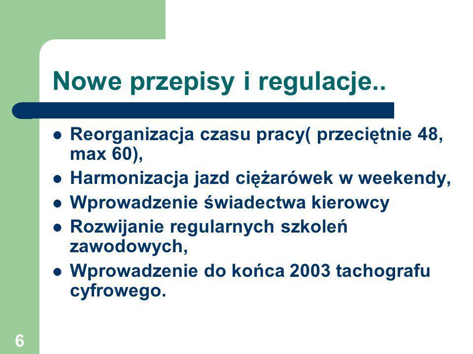 7 Negocjacje rozdziału Polityka Transportowa z UE Otwarcie rozdziału: 12 XI 1999 r.
