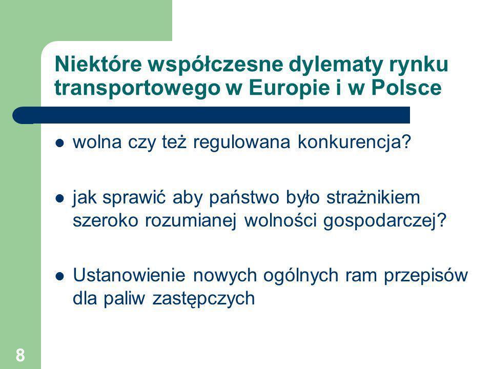 8 Niektóre współczesne dylematy rynku transportowego w Europie i w Polsce wolna czy też regulowana konkurencja? jak sprawić aby państwo było strażniki