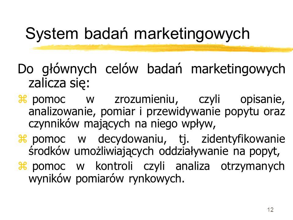 12 System badań marketingowych Do głównych celów badań marketingowych zalicza się: z pomoc w zrozumieniu, czyli opisanie, analizowanie, pomiar i przew