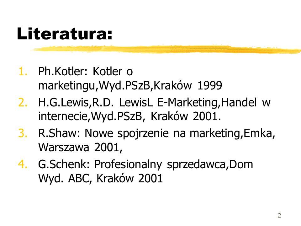 2 Literatura: 1.Ph.Kotler: Kotler o marketingu,Wyd.PSzB,Kraków 1999 2.H.G.Lewis,R.D. LewisL E-Marketing,Handel w internecie,Wyd.PSzB, Kraków 2001. 3.R