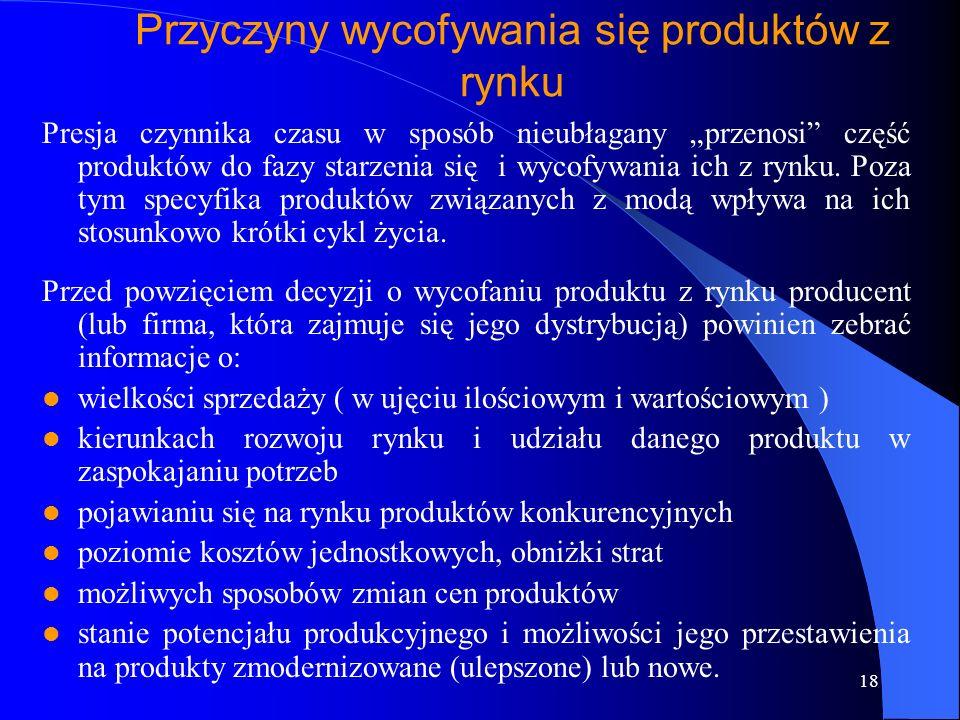17 Fazy rozwoju i realizacji nowego produktu 1. Badanie przedsiębiorstwa 2. Badanie wykonywalności 3. Rozwój 4. Test rynku 5. Wprowadzenie na rynek 6.