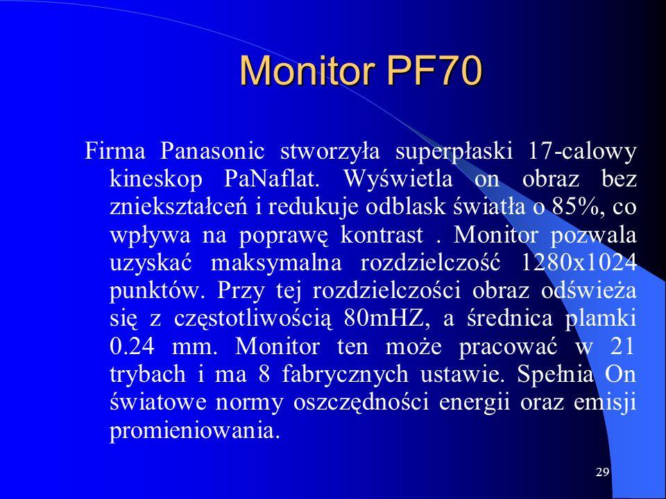 28 Procesor PENTIUM II Firma INTEL wyprodukowała w technologii o.25 mikrometrów. Posiada on moc obliczeniową równą 8 mln tranzystorów. Może on być wyk