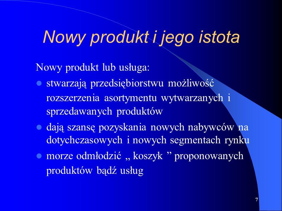 7 Nowy produkt i jego istota Nowy produkt lub usługa: stwarzają przedsiębiorstwu możliwość rozszerzenia asortymentu wytwarzanych i sprzedawanych produktów dają szansę pozyskania nowych nabywców na dotychczasowych i nowych segmentach rynku morze odmłodzić koszyk proponowanych produktów bądź usług