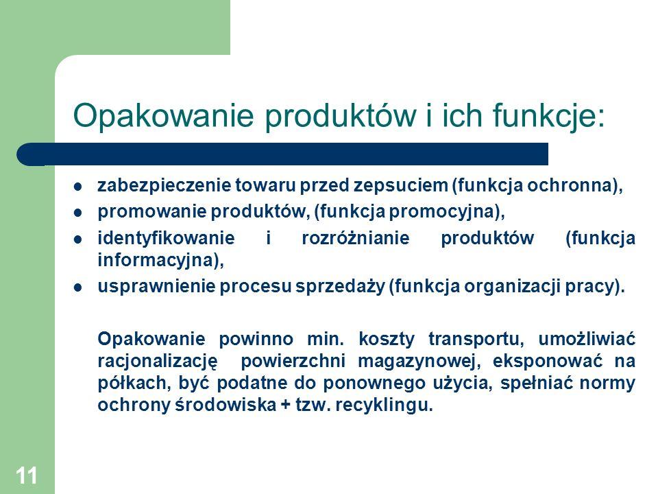 11 Opakowanie produktów i ich funkcje: zabezpieczenie towaru przed zepsuciem (funkcja ochronna), promowanie produktów, (funkcja promocyjna), identyfik