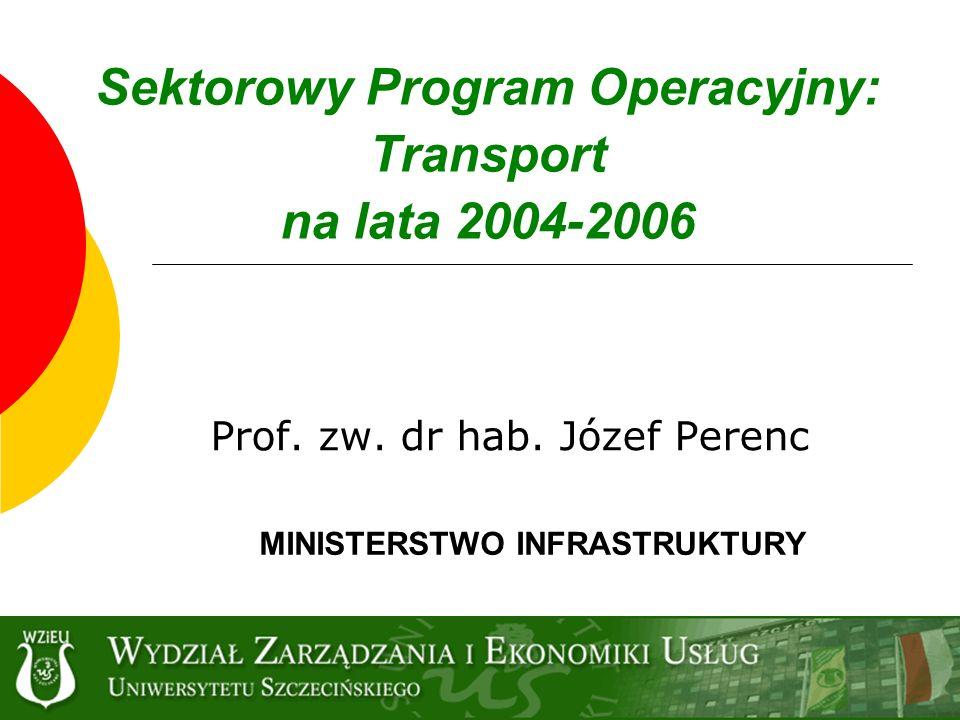 Sektorowy Program Operacyjny: Transport na lata 2004-2006 Prof. zw. dr hab. Józef Perenc MINISTERSTWO INFRASTRUKTURY