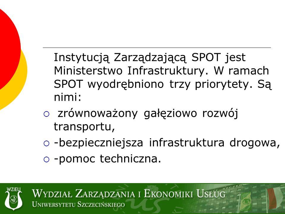 Instytucją Zarządzającą SPOT jest Ministerstwo Infrastruktury. W ramach SPOT wyodrębniono trzy priorytety. Są nimi: zrównoważony gałęziowo rozwój tran