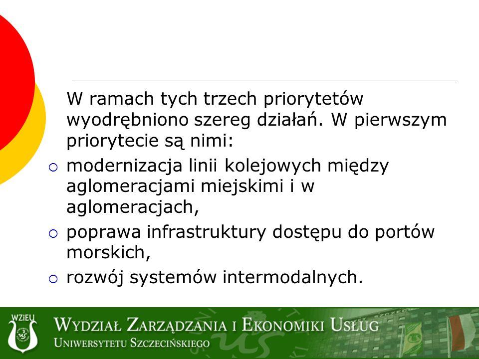 W ramach tych trzech priorytetów wyodrębniono szereg działań. W pierwszym priorytecie są nimi: modernizacja linii kolejowych między aglomeracjami miej