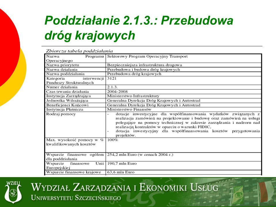 Poddziałanie 2.1.3.: Przebudowa dróg krajowych