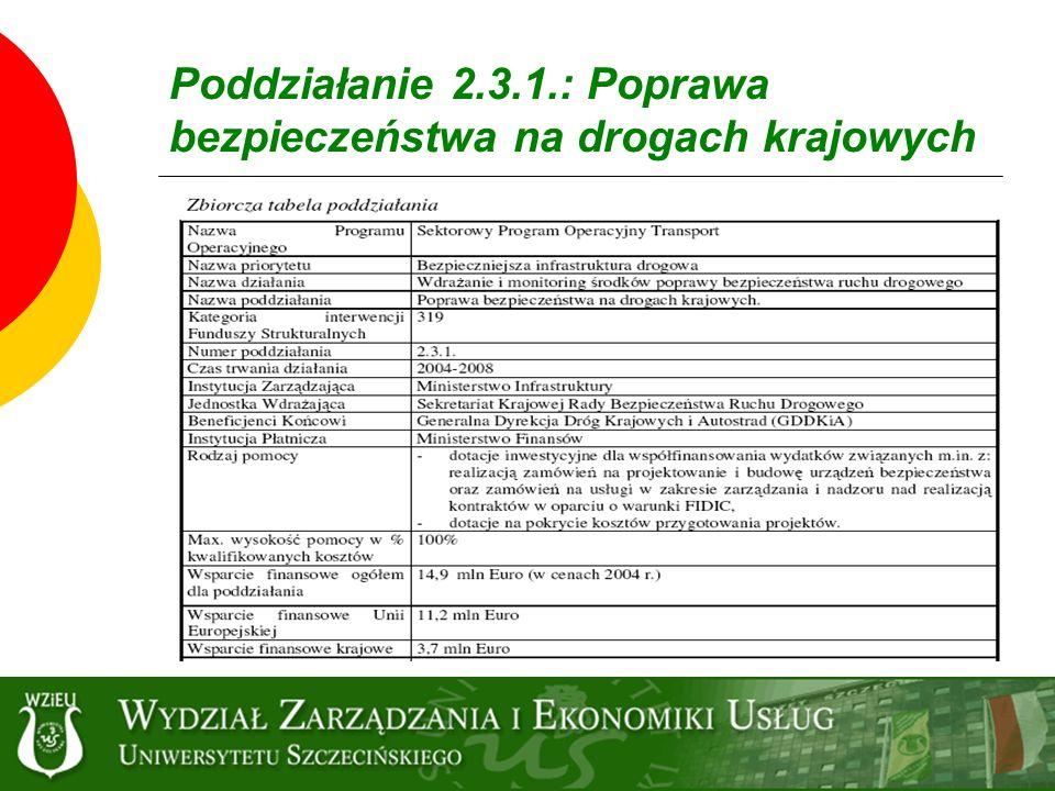 Poddziałanie 2.3.1.: Poprawa bezpieczeństwa na drogach krajowych
