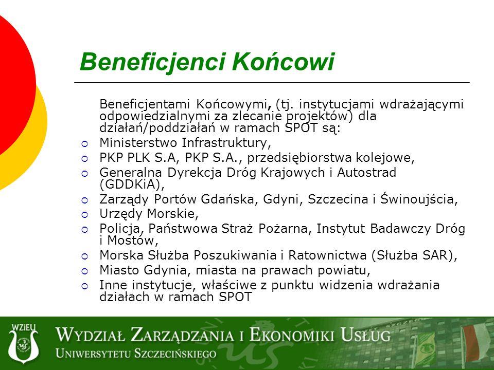 Beneficjenci Końcowi Beneficjentami Końcowymi, (tj. instytucjami wdrażającymi odpowiedzialnymi za zlecanie projektów) dla działań/poddziałań w ramach