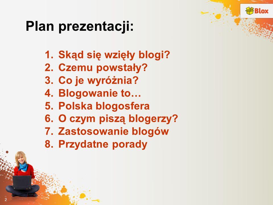 2 Plan prezentacji: 1.Skąd się wzięły blogi? 2.Czemu powstały? 3.Co je wyróżnia? 4.Blogowanie to… 5.Polska blogosfera 6.O czym piszą blogerzy? 7.Zasto
