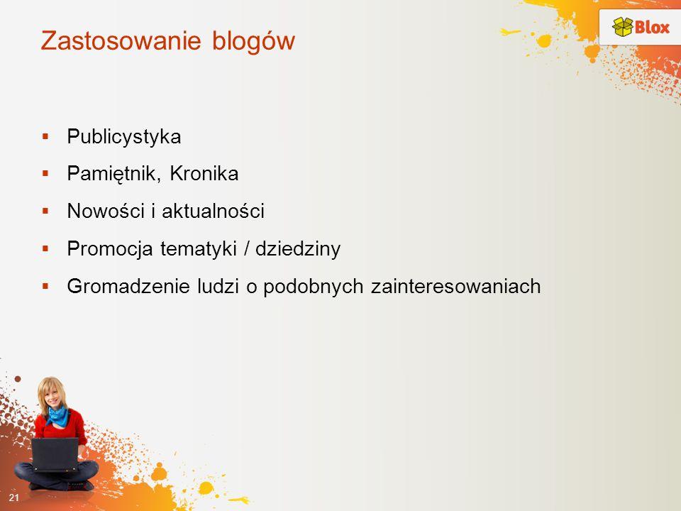 Zastosowanie blogów Publicystyka Pamiętnik, Kronika Nowości i aktualności Promocja tematyki / dziedziny Gromadzenie ludzi o podobnych zainteresowaniac