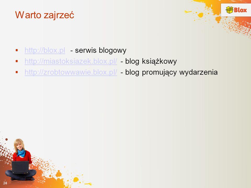 Warto zajrzeć http://blox.pl - serwis blogowy http://blox.pl http://miastoksiazek.blox.pl/ - blog książkowy http://miastoksiazek.blox.pl/ http://zrobt