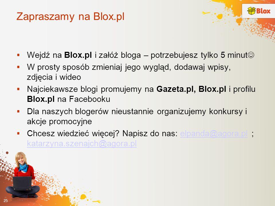 Zapraszamy na Blox.pl Wejdź na Blox.pl i załóż bloga – potrzebujesz tylko 5 minut W prosty sposób zmieniaj jego wygląd, dodawaj wpisy, zdjęcia i wideo