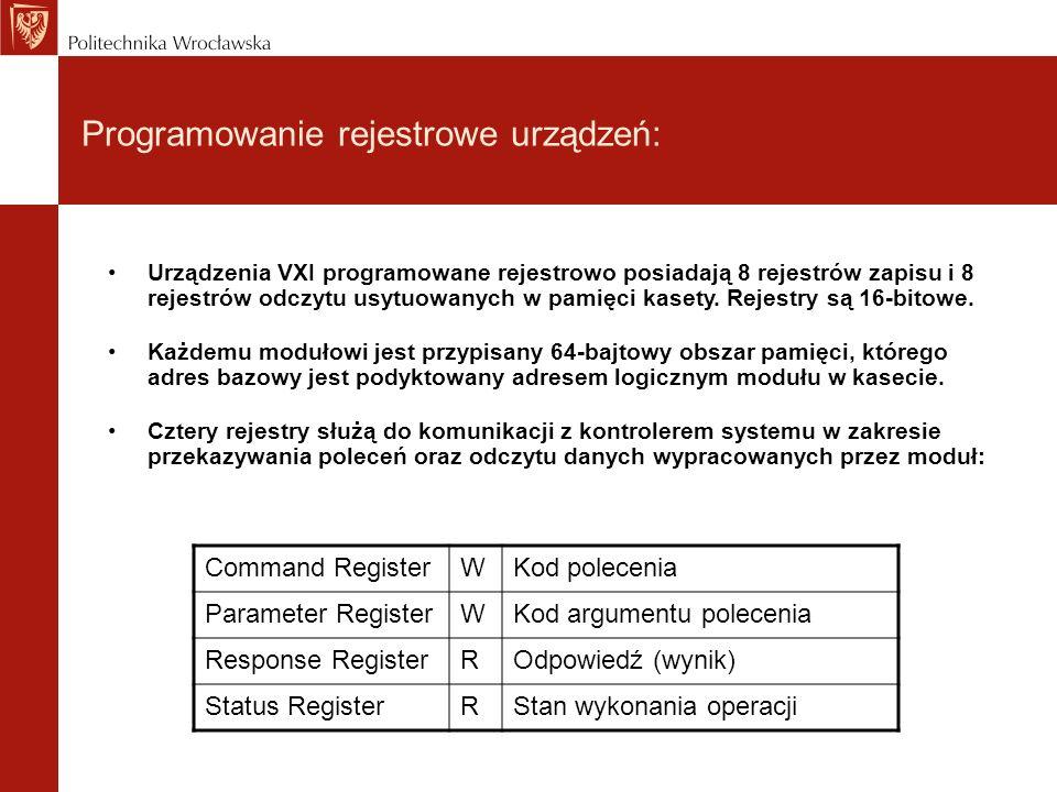 Programowanie rejestrowe urządzeń: Urządzenia VXI programowane rejestrowo posiadają 8 rejestrów zapisu i 8 rejestrów odczytu usytuowanych w pamięci kasety.