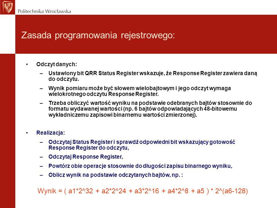 Zasada programowania rejestrowego: Odczyt danych: –Ustawiony bit QRR Status Register wskazuje, że Response Register zawiera daną do odczytu.