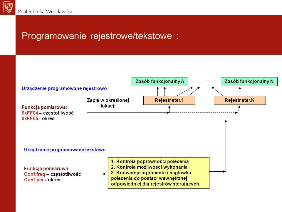 Programowanie rejestrowe/tekstowe : Zasób funkcjonalny A Zapis w określonej lokacji Rejestr ster.1 Zasób funkcjonalny N Rejestr ster.K Funkcja pomiaro