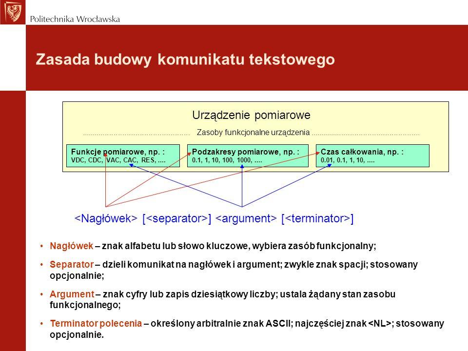 Zasada budowy komunikatu tekstowego Funkcje pomiarowe, np. : VDC, CDC, VAC, CAC, RES,.... Podzakresy pomiarowe, np. : 0.1, 1, 10, 100, 1000,.... Czas