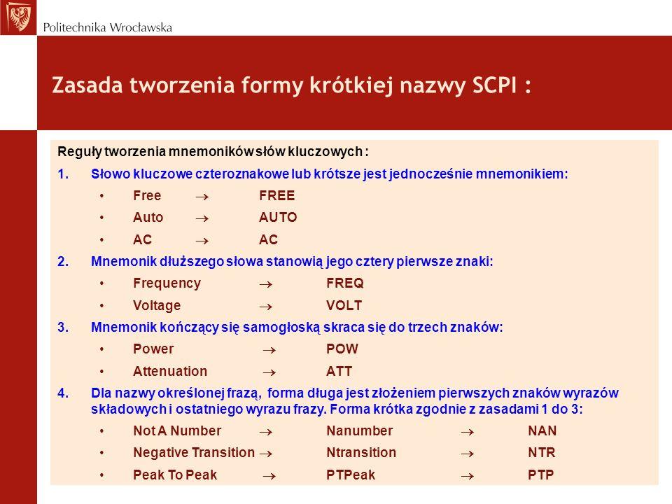 Zasada tworzenia formy krótkiej nazwy SCPI : Reguły tworzenia mnemoników słów kluczowych : 1.Słowo kluczowe czteroznakowe lub krótsze jest jednocześni