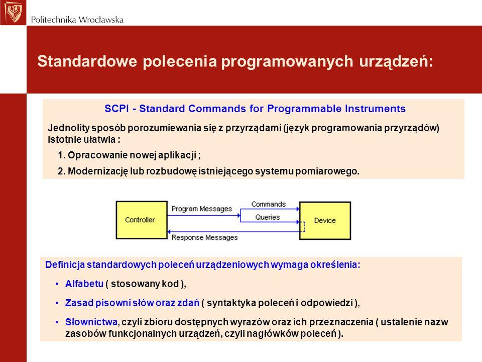 Standardowe polecenia programowanych urządzeń: Definicja standardowych poleceń urządzeniowych wymaga określenia: Alfabetu ( stosowany kod ), Zasad pis