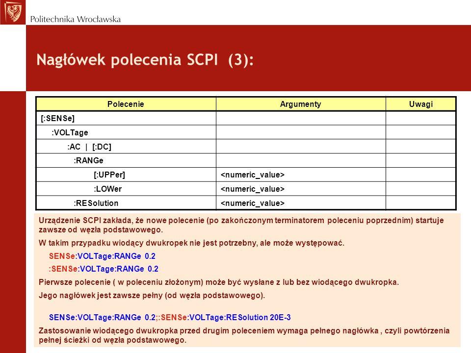 Nagłówek polecenia SCPI (3): Urządzenie SCPI zakłada, że nowe polecenie (po zakończonym terminatorem poleceniu poprzednim) startuje zawsze od węzła po