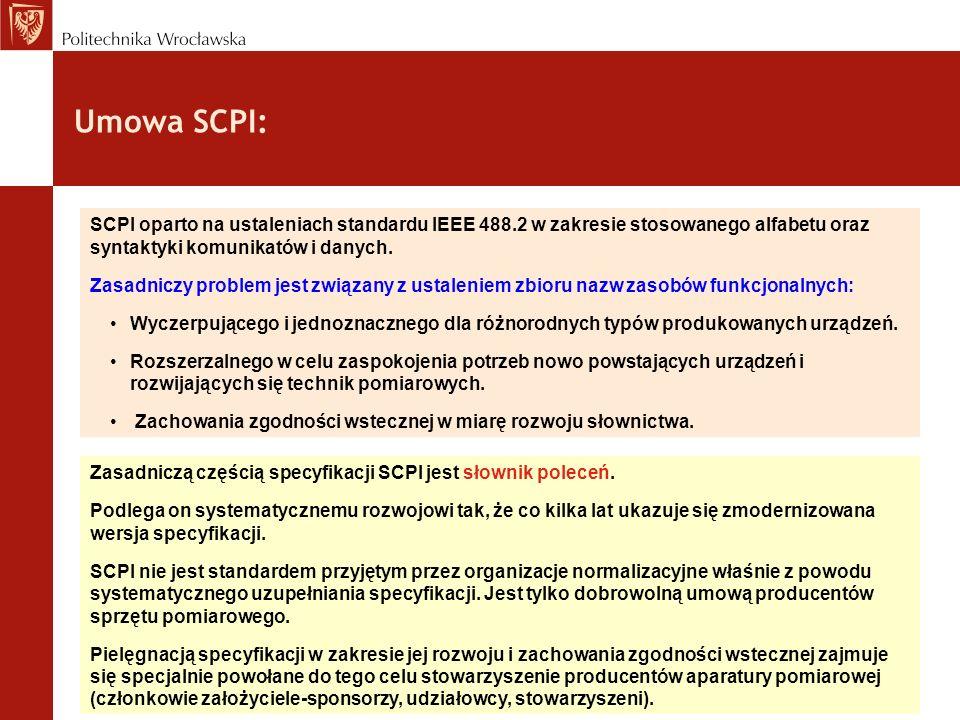Umowa SCPI: Zasadniczą częścią specyfikacji SCPI jest słownik poleceń. Podlega on systematycznemu rozwojowi tak, że co kilka lat ukazuje się zmoderniz
