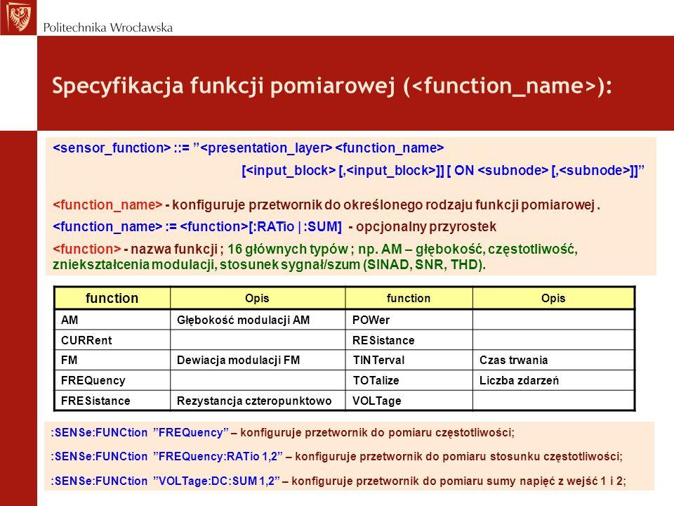 Specyfikacja funkcji pomiarowej ( ): ::= [ [, ]] [ ON [, ]] - konfiguruje przetwornik do określonego rodzaju funkcji pomiarowej. := [:RATio | :SUM] -