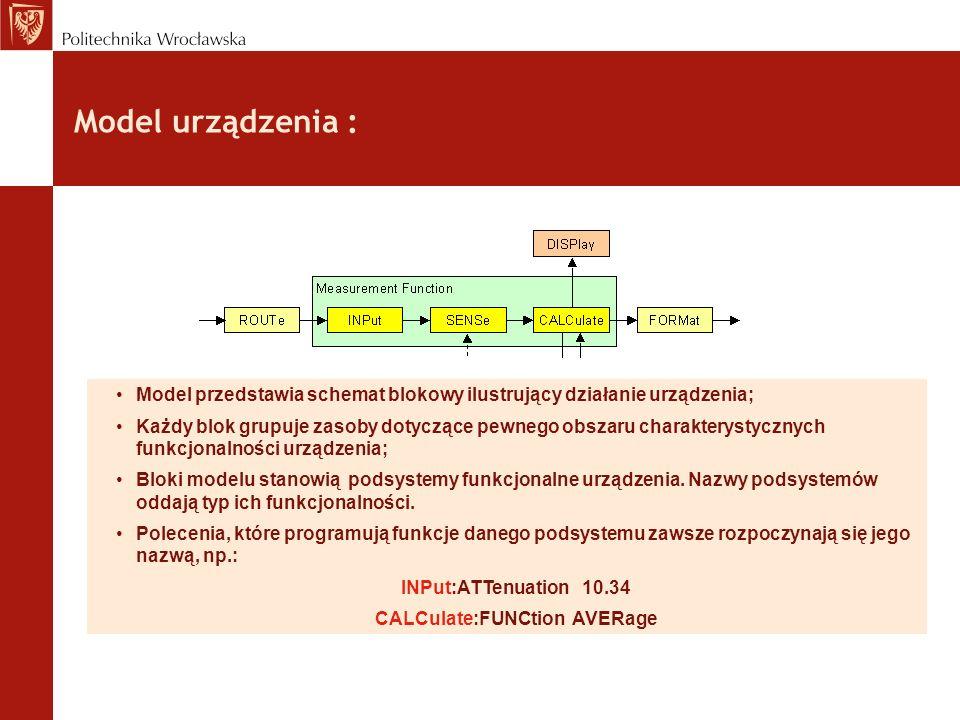 Model urządzenia : Model przedstawia schemat blokowy ilustrujący działanie urządzenia; Każdy blok grupuje zasoby dotyczące pewnego obszaru charakterys