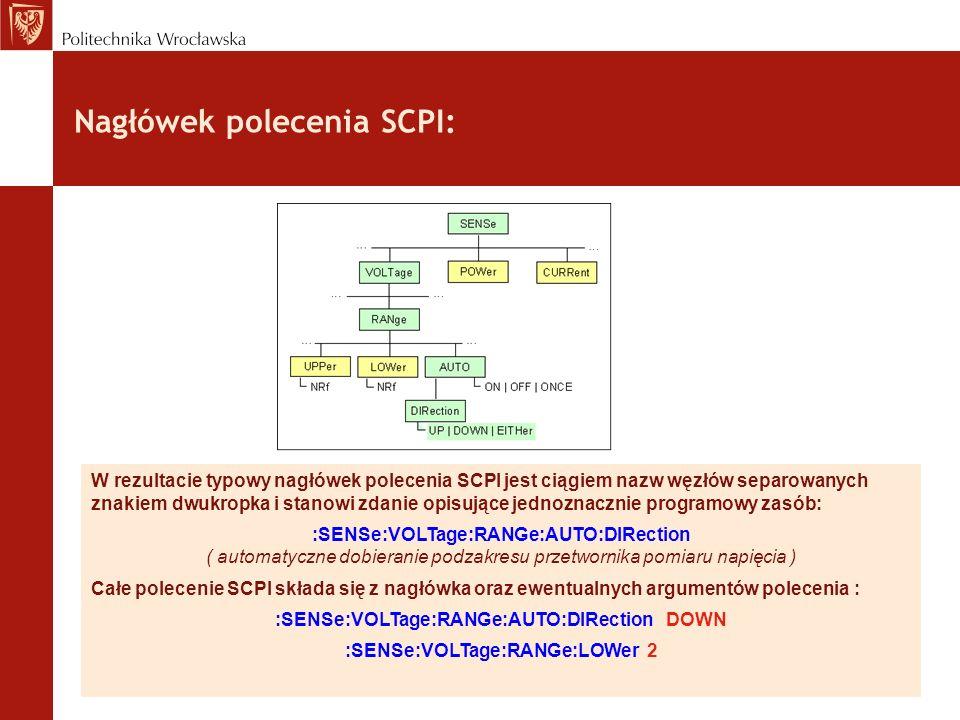 Nagłówek polecenia SCPI: W rezultacie typowy nagłówek polecenia SCPI jest ciągiem nazw węzłów separowanych znakiem dwukropka i stanowi zdanie opisując