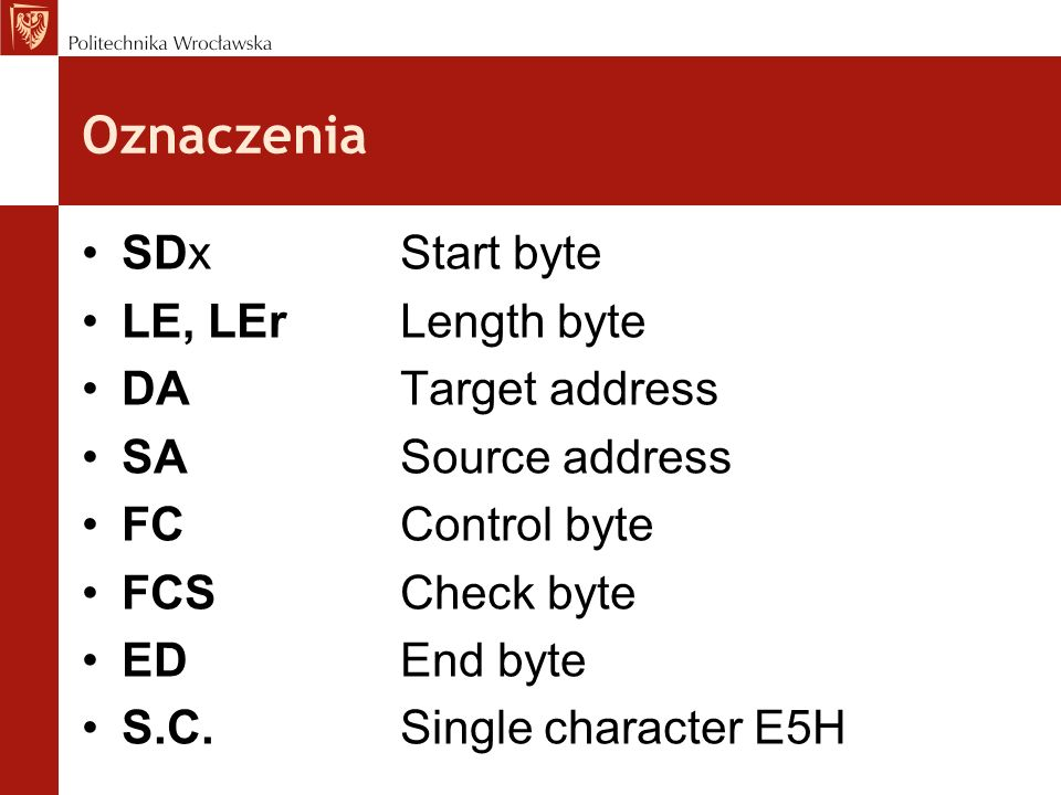 Oznaczenia SDxStart byte LE, LErLength byte DATarget address SASource address FCControl byte FCSCheck byte EDEnd byte S.C.Single character E5H