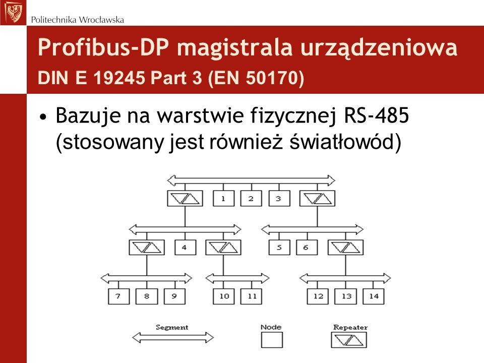 Profibus-DP magistrala urządzeniowa DIN E 19245 Part 3 (EN 50170) Bazuje na warstwie fizycznej RS-485 (stosowany jest również światłowód)