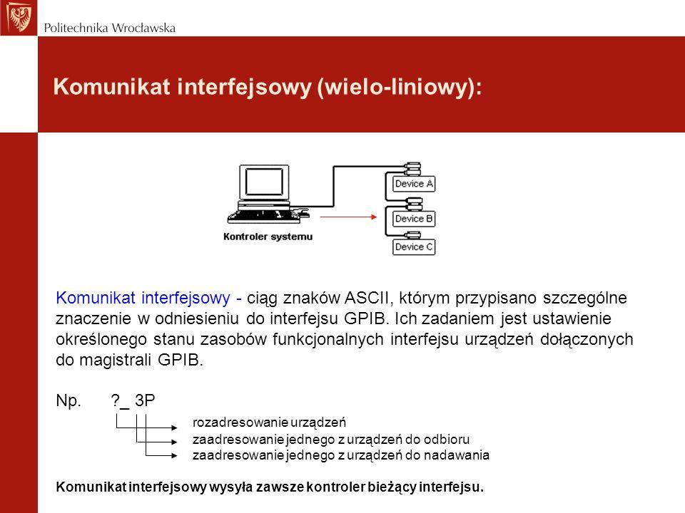 Komunikat interfejsowy (wielo-liniowy): Komunikat interfejsowy - ciąg znaków ASCII, którym przypisano szczególne znaczenie w odniesieniu do interfejsu
