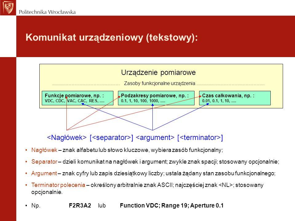 Komunikat urządzeniowy (tekstowy): Funkcje pomiarowe, np. : VDC, CDC, VAC, CAC, RES,.... Podzakresy pomiarowe, np. : 0.1, 1, 10, 100, 1000,.... Czas c