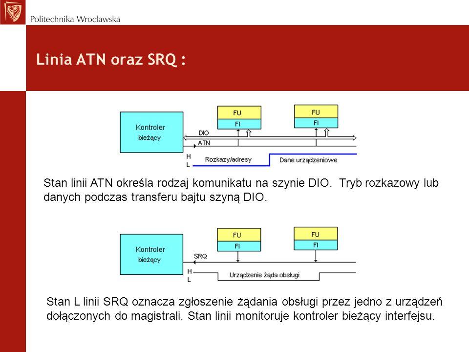 Linia ATN oraz SRQ : Stan linii ATN określa rodzaj komunikatu na szynie DIO. Tryb rozkazowy lub danych podczas transferu bajtu szyną DIO. Stan L linii