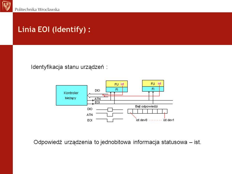Linia EOI (Identify) : Identyfikacja stanu urządzeń : Odpowiedź urządzenia to jednobitowa informacja statusowa – ist.