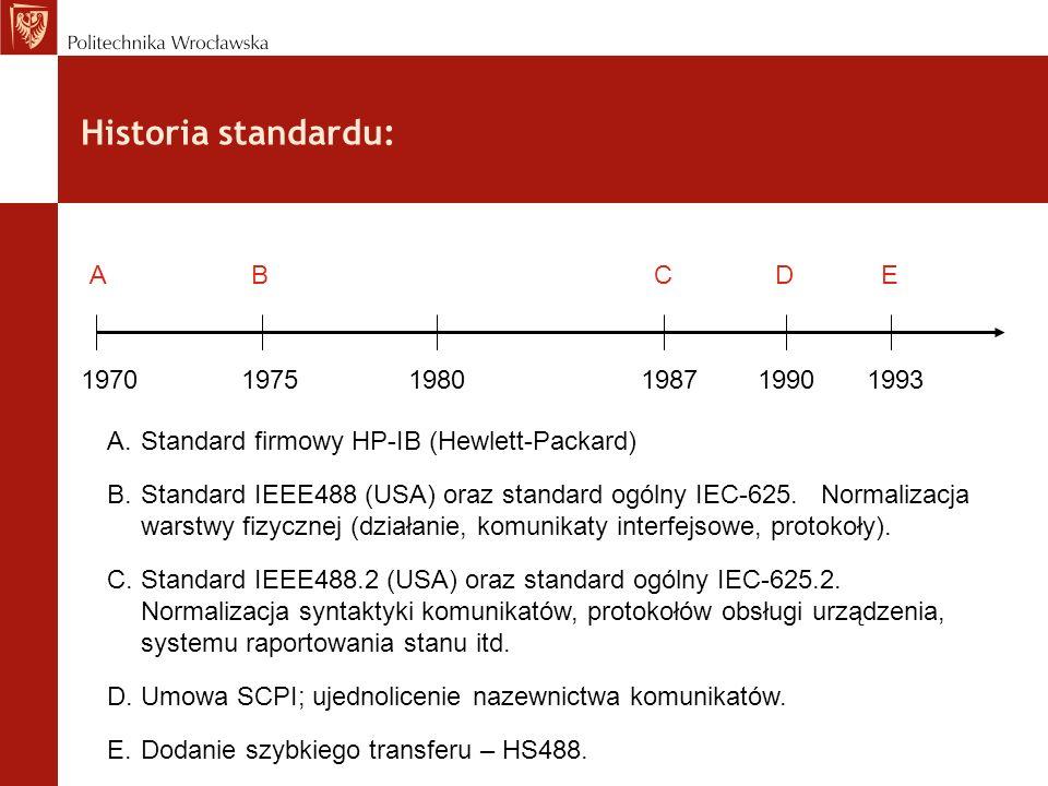 Historia standardu: A.Standard firmowy HP-IB (Hewlett-Packard) B.Standard IEEE488 (USA) oraz standard ogólny IEC-625. Normalizacja warstwy fizycznej (