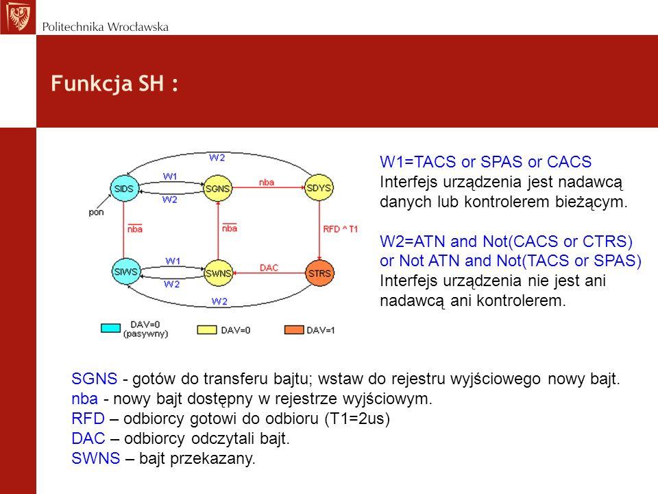 Funkcja SH : W1=TACS or SPAS or CACS Interfejs urządzenia jest nadawcą danych lub kontrolerem bieżącym. W2=ATN and Not(CACS or CTRS) or Not ATN and No