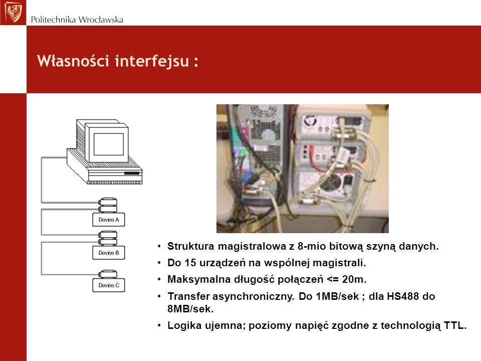 Własności interfejsu : Struktura magistralowa z 8-mio bitową szyną danych. Do 15 urządzeń na wspólnej magistrali. Maksymalna długość połączeń <= 20m.