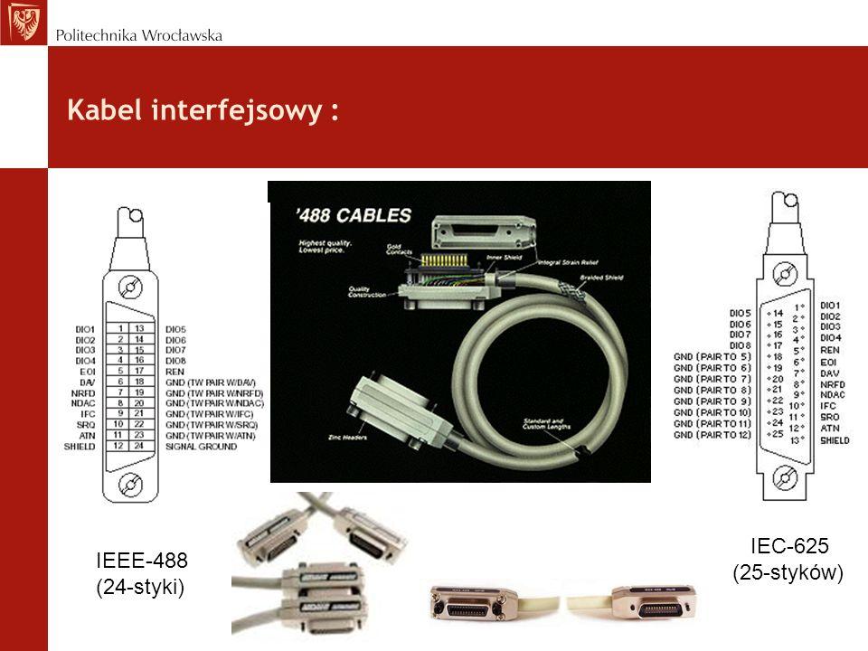 Kabel interfejsowy : IEEE-488 (24-styki) IEC-625 (25-styków)