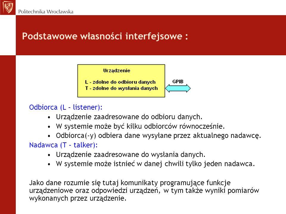 Podstawowe własności interfejsowe : Odbiorca (L – listener): Urządzenie zaadresowane do odbioru danych. W systemie może być kilku odbiorców równocześn