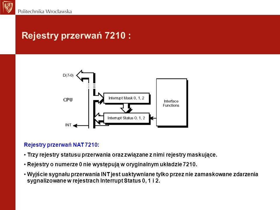 Rejestry przerwań 7210 : Rejestry przerwań NAT 7210: Trzy rejestry statusu przerwania oraz związane z nimi rejestry maskujące. Rejestry o numerze 0 ni