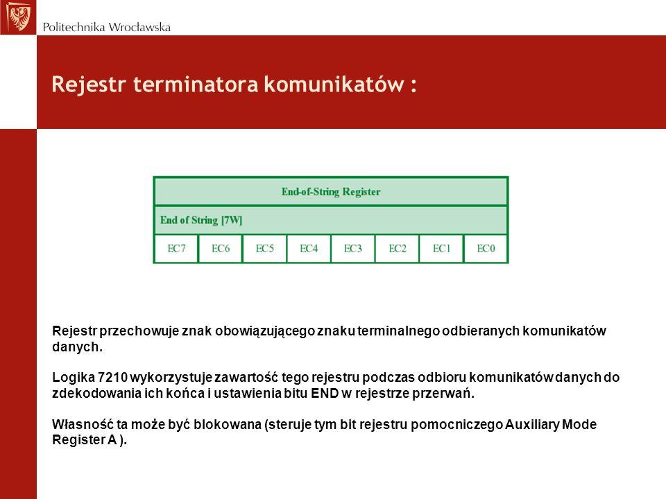 Rejestr terminatora komunikatów : Rejestr przechowuje znak obowiązującego znaku terminalnego odbieranych komunikatów danych. Logika 7210 wykorzystuje